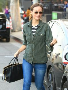 Olivia Wilde in DL1961 Skinny Jeans and a Current/Elliott Jacket