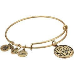 Alex and Ani Lotus Peace Petals Charm Bangle Bracelet ($22) ❤ liked on Polyvore featuring jewelry, bracelets, gold, flower charms, peace charm, bangle charms, peace sign charms and flower bangle bracelet