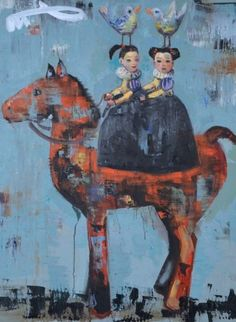 Rimi Yang - Contemporary Artist - Figurative Painting - Twin sisters & a horse.