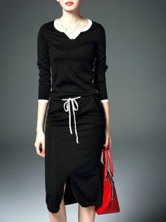 Slit Casual Sheath Long Sleeve Sweater Dress