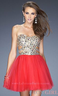 Short Sequin Prom Dress by La Femme 19701 at PromGirl.com #prom #dress