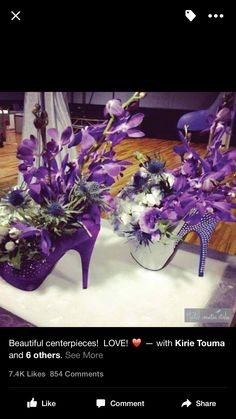 I'd change the colors to red for my wedding centerpieces! I'd change the colors to red for my wedding centerpieces! Party Centerpieces, Floral Centerpieces, Floral Arrangements, Wedding Decorations, Table Decorations, Purple Centerpiece, Halloween Flower Arrangements, Purple Party Decorations, Centerpiece Wedding