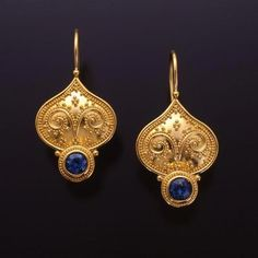 Classic Collection — Tuscan Garden Series Earrings Zaffiro Jewelry: Earrings are set with Blue Sapphires in granulated yellow gold with yellow gold french hooks. I Love Jewelry, Fine Jewelry, Jewelry Design, Women Jewelry, Jewelry Shop, Cheap Jewelry, Inexpensive Jewelry, Ruby Jewelry, Indian Gold Jewelry