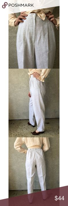 VINTAGE | Linen pants with front pleats These linen pants feature a pleated front and a slightly tapered leg.  The off white linen fabric has a darker thread woven in to give a textured appearance.  The small elastic waistband insets make these super comfy.  Perfect summer wardrobe staple. Vintage Pants Straight Leg