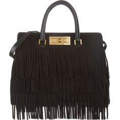 Saint Laurent Fringed Trois Clous Tote ($1,299) ❤ liked on Polyvore featuring bags, handbags, tote bags, bolsas, borse, purses, black, black fringe purse, black suede handbag and fringe handbags