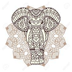 Dekorative Elefant Mit Mandala. Indian Thema Mit Ornamenten. Vector Isolierte…