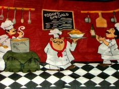 Decorate your fat chef themed kitchen with this delightful kitchen curtains set that features a trio of fat chefs. $24.95