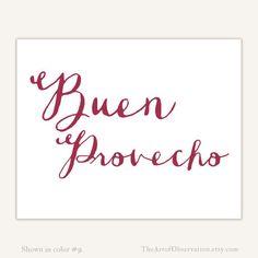 Spanish Art Print Kitchen Typography Buen Provecho quote