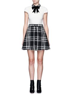 'Gail' bow collar check tweed dress