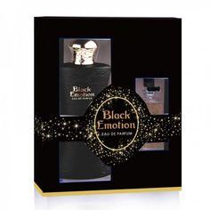 Le coffret de parfum Black Emotion, sensuel et glamour, grâce à l'association du café et de la fleur d'oranger sur un fond de cèdre et de patchouli - VAPORISATEUR 100 ml + VAPORISATEUR DE SAC 15 ml