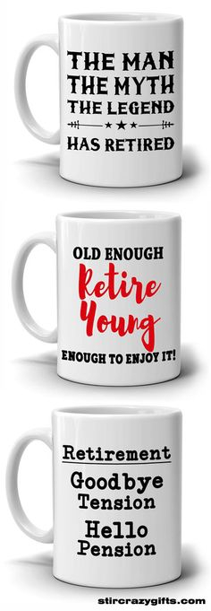 Funny Retirement Gifts for Retired Boss and Coworkers Old Enough Retire Young Coffee Mug, Printed on Both Sides - Birthday Month Retirement Gifts For Men, Retirement Quotes, Retirement Parties, Retirement Ideas, Boss Birthday Gift, Birthday Month, Husband Birthday, Birthday Ideas, Happy Birthday