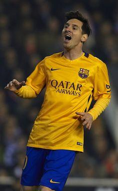 Lionel Messi of Barcelona reacts during the La Liga match between Valencia CF and FC Barcelona at Estadi de Mestalla on December 05, 2015 in Valencia, Spain.
