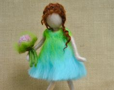Items similar to Wall Hanging Ornament Needle Felted doll : Girl with pink flowers on Etsy Hanging Ornaments, Felt Ornaments, Needle Felted Ornaments, Felt Angel, Worry Dolls, Needle Felting Tutorials, Felt Fairy, Waldorf Dolls, Nuno Felting