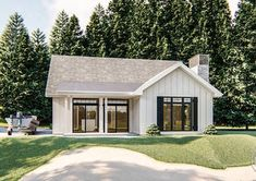 Modern Farmhouse Cabin Plan | Littleton Small Lake Houses, Small Cottage House Plans, Barn House Plans, Cabin Plans, Cottage Homes, Guest Cottage Plans, Small Cabins, Tiny Houses, Large Family Rooms