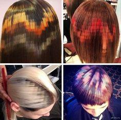 Пиксельное окрашивание волос.