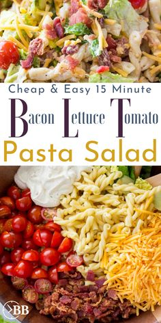This 15 min bacon lettuce tomato pasta salad is the perfect quick summer pasta salad for parties or an easy quick dinner. It's one of the easiest bacon for a meal recipes and is even pretty healthy. for parties BLT Pasta Salad Tomato Pasta Salad, Pasta Salat, Blt Pasta Salads, Summer Pasta Salad, Easy Pasta Salad, Party Salads, Salad Chicken, Pasta Salad With Avocado, Bacon Tomato Pasta