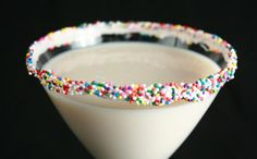 Cake Batter Martini Recipe:  1/8 cup white cake mix 1/8 cup water 1 oz vanilla vodka 1 oz white chocolate liqueur sprinkles alcohol-infused whipped cream (optional)