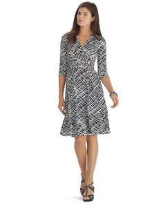 White House | Black Market Printed 3/4 Sleeve Wrap Dress #whbm-69.99