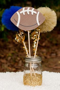 Football Party Tailgating Centerpiece Table Decoration You Choose Colors Football Party Games, Football Themes, Football Birthday, Football Cheerleaders, Football Girls, Sports Party, Gender Reveal Football, Cheer Banquet, Football Banquet