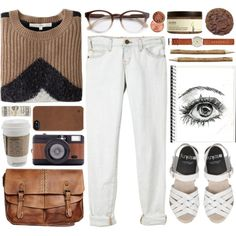 """brown & white"" by fashxo on Polyvore #OOTD"