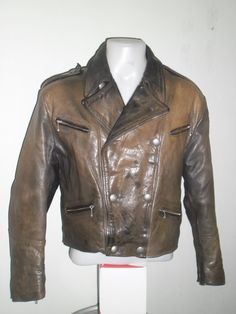 60's Vintage Stunning  and  Rare  GERMAN Flight or motorcycle Leather Jacket , Brown Color , V  Double Breasted ,350$
