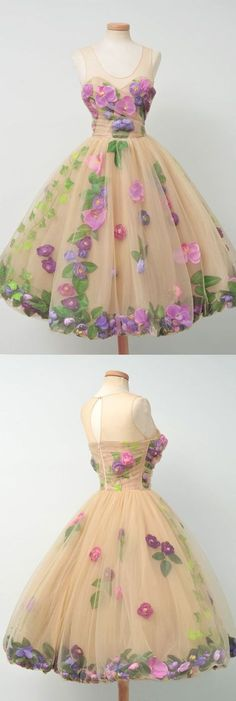 Prom dresses sleeveless - Champagne party dress scoop neck evening dress tulle homecoming short dress sleeveless prom dress with purple flowers – Prom dresses sleeveless Ball Gowns Prom, Ball Dresses, Evening Dresses, Short Dresses, Prom Dresses, Dress Prom, Formal Dresses, Tube Dress, Women's Dresses