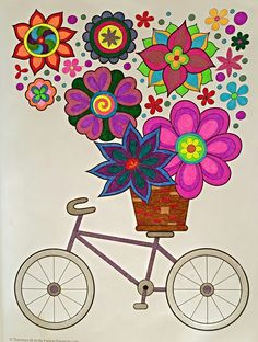 Bicycle With Flowers From Hipster By Thaneeya McArdle Colored Various Gel Pens