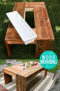 DIY Outdoor Coffee Table with Drink Cooler Woodworking Plan via shop. plans diy DIY Outdoor Coffee Table with Drink Cooler Woodworking Plan Diy Pallet Projects, Outdoor Projects, Diy Backyard Projects, Diy Projects To Sell, Diy Furniture Projects, Wood Projects That Sell, Diy Furniture From Pallets, Diy Summer Projects, Garden Projects