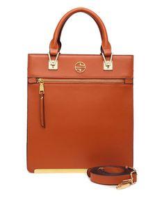 Love this Cognac Alaina Leather Tote by Segolene En Cuir on #zulily! #zulilyfinds
