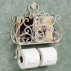 Aldabella Wall Magazine Rack with Toilet Paper Holder - bronze,gold or antique white-45.99 Touch of class.com