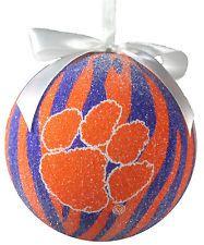 "Christmas Ornament Clemson Tigers Orange and Purple Large 5"""