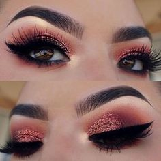 I need a whole palette made in this pressed glitter formula it's magical Brows: @anastasiabeverlyhills dip brow in ebony set with clear brow gel Eyes: @hudabeauty @shophudabeauty desert dusk palette in the shades eden, blazing, amber, saffron, oud and cosmo on the lid @wetnwildbeauty mega liner Lashes: @shophudabeauty @hudabeauty Farrah #12s