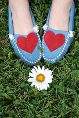 DIY Idea - Add/ Stitch On Suede Hearts to Plain Moccasins (thinking florescent pink on a light tan)
