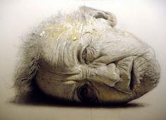Golucho - Retrato de insomnio. Lápiz y aguada. Primavera 2006. (104 x 140 cm)