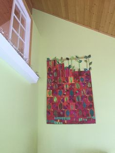 My Leaf quilt hanging at the lake. Designed by Ingrid Machtemes for this location.