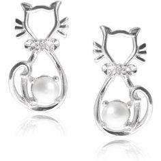 1b8b8e3fe Women's CZ Sterling Silver Pearl Accent Cat Stud Earrings - Walmart.com