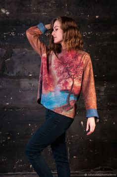 "Felted Sweatshirt | Валяный свитшот ""Рассвет-закат"" — работа дня на Ярмарке Мастеров"