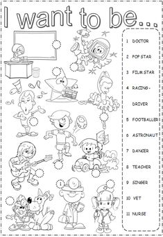 """I want to be"" Worksheet for teaching about Professions English Time, Kids English, English Lessons, Learn English, English Vocabulary, English Grammar, Teaching English, English Language, English Worksheets For Kids"