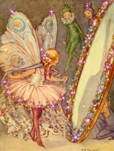 Margaret Tarrant, fairy in the mirror illustration Fairy Dust, Fairy Land, Fairy Tales, Elfen Fantasy, Fantasy Art, Magical Creatures, Fantasy Creatures, Arte Fashion, Fairy Pictures