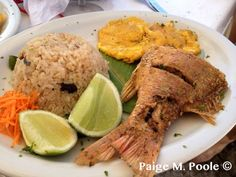 Typical dish from Caribbean coast of Colombia:  Fried red snapper, green plantains, and coconut rice