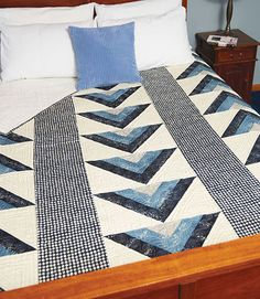 You can't go wrong with a simple, graphic design like Flying Geese, especially when it's in blue and gray. The large blocks make this quilt quick and easy to stitch. Quilt patterns for men aren't always easy to come by, but that's why we're here!