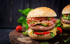 Download wallpapers 4k, hamburger, close-up, fastfood, cutlets, burger Food Wallpaper, Salmon Burgers, Sandwiches, Chicken, Ethnic Recipes, Queso, Desktop, Wallpapers, Chips