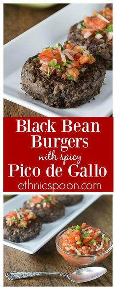 Black bean burgers with pico de gallo. Blend these up quick in the food processor! Vegan, Vegetarian and gluten free black bean burgers with my favorite spicy pico de gallo! Love these! | ethnicspoon.com
