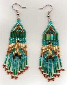 Small Teal Thunderbird Seed Bead Earrings. …