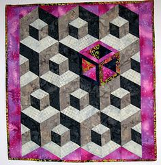quilt --art quilts Geometric Quilt, Hexagon Quilt, Hexagons, Square Quilt, 3d Quilts, Sampler Quilts, Baby Quilts, Labrynth Quilt Pattern, Optical Illusion Quilts