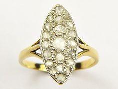 WONDERFUL ANTIQUE EDWARDIAN ENGLISH 18K GOLD MARQUISE ROSE-CUT DIAMOND RING 1910