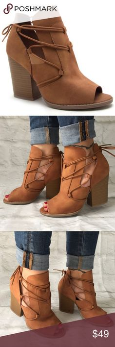 Women's Camel Peep Toe Bootie Camel peep toe booties with 3.5 inch stacked heel and tie back details. Man made soft faux suede material. Booties fit true to size - Daughter is modeling her 7.5 (her standard shoe size). Boutique Shoes Ankle Boots & Booties