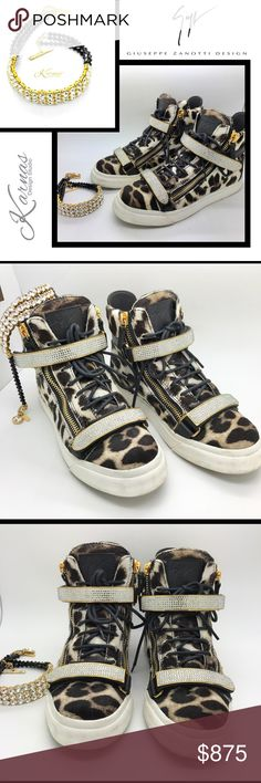 """GIUSEPPE ZANOTTI Crystal Sneakers & KDS Choker  authentic & to die for! Genuine Swarovski Crystal on the sneakers and in the choker. Giuseppe Zanotti calf hair leather and gold hardware. Size 8.5 and fits US 8. Super comfy. Purchased for myself and worn a couple times. Great condition and so hot! No box or dust bag but can be bought on EBay if needed. Custom made matching choker from my studio, Karnas Design Studio LLC, fits a 13"""" or smaller neck size. Google us to learn more! Sneakers…"""