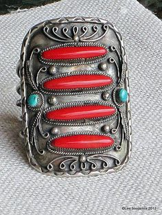 ༻✿༺ ❤️ ༻✿༺ Vintage Navajo Sterling Silver and Red Coral Turquoise Cuff Bracelet Native American ༻✿༺ ❤️ ༻✿༺