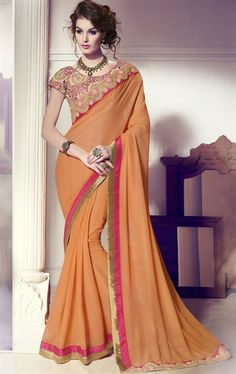Picture of Attractive Coral Latest Saree with Designer Blosue